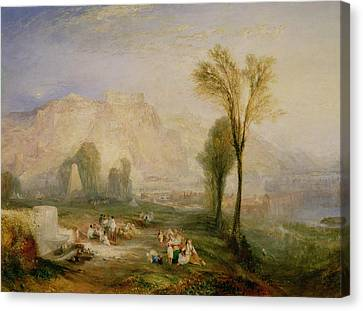 The Bright Stone Of Honour Ehrenbreitstein And The Tomb Of Marceau, From Byrons Childe Harold, 1835 Canvas Print by Joseph Mallord William Turner