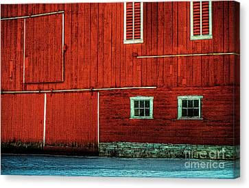 Red Barn In Snow Canvas Print - The Broad Side Of A Barn by Lois Bryan