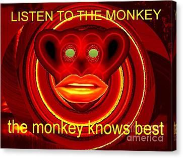 The Broadcast Monkey Canvas Print by Catherine Lott
