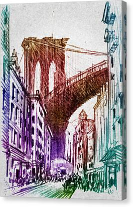 The Brooklyn Bridge Canvas Print by Aged Pixel