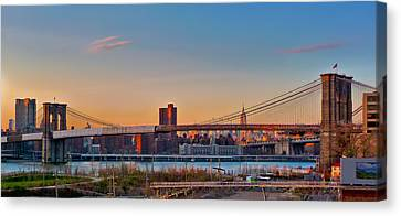 D700 Canvas Print - The Brooklyn Bridge And The Empire State Building by Mitchell R Grosky
