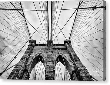 White Canvas Print - The Brooklyn Bridge by John Farnan