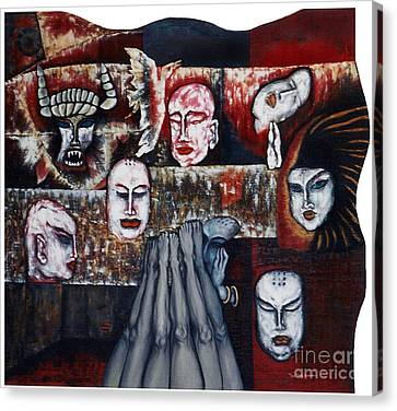 Canvas Print featuring the painting The Buddhism Conception And The Human World by Fei A