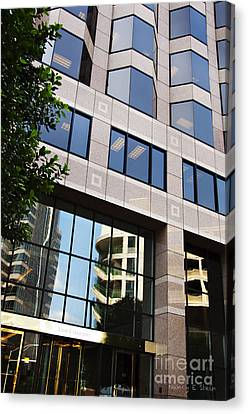 The Building Across The Street Canvas Print by Nancy E Stein