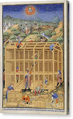 The Building Of Noah's Ark Canvas Print by British Library