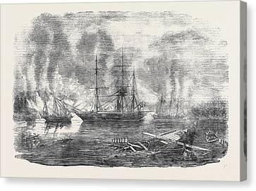 The Bulldog And Starling Intercepting Trading Vessels Canvas Print by Carmichael, John Wilson (1800-1868), English