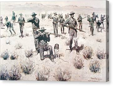 The Bullets Kicked Up Dust Canvas Print by Pg Reproductions