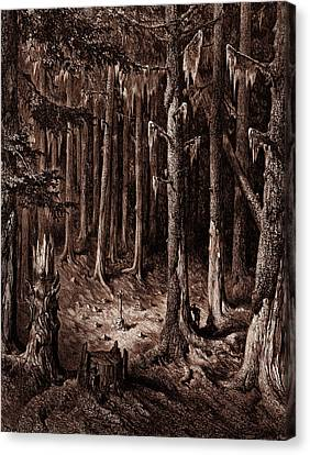 The Burial-ground In The Fir-forest Canvas Print