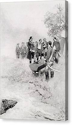 Brandywine Canvas Print - The Burial Of Braddock, Illustration From Colonel Washington By Woodrow Wilson, Pub. In Harpers by Howard Pyle