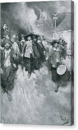 The Burning Of Jamestown, 1676, Illustration From Colonies And Nation By Woodrow Wilson, Pub Canvas Print by Howard Pyle
