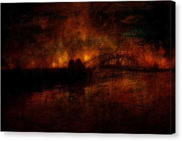 The Burning Of Sydney Canvas Print by Kim Gauge
