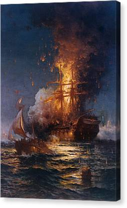 Tall Ship Canvas Print - The Burning Of The Philadelphia by Edward Moran