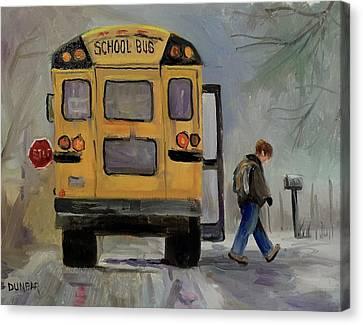 School Bus Canvas Print - The Bus by Linda Dunbar