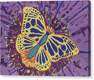 Canvas Print featuring the painting The Butterfly Conspiracy by Yshua The Painter