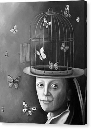 The Butterfly Keeper Bw Canvas Print by Leah Saulnier The Painting Maniac