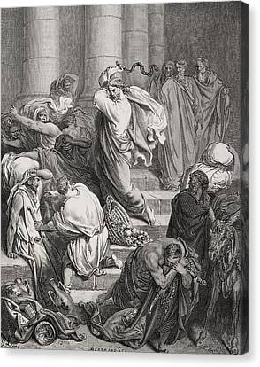 The Buyers And Sellers Driven Out Of The Temple Canvas Print by Gustave Dore