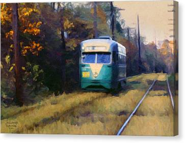 The Cabin John Trolley Canvas Print by Spyder Webb
