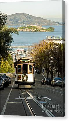 The Cable Car And Alcatraz Canvas Print