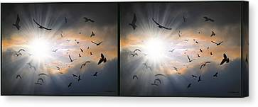 The Call - The Caw - Gently Cross Your Eyes And Focus On The Middle Image Canvas Print by Brian Wallace