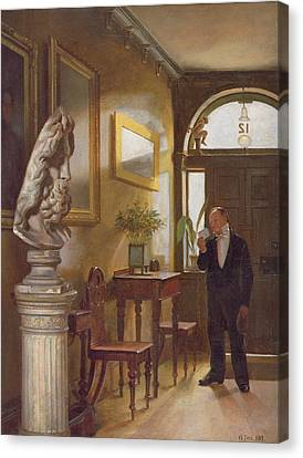 The Calling Card, 1889 Canvas Print by William Fitz