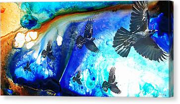 Crows Canvas Print - The Calling - Raven Crow Art By Sharon Cummings by Sharon Cummings