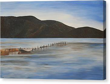 Canvas Print featuring the painting The Calm Water Of Akyaka by Tracey Harrington-Simpson