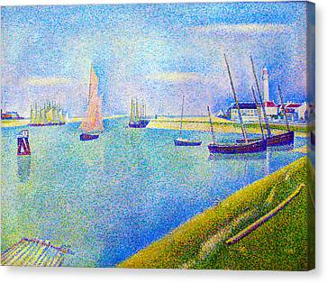 Seurat Canvas Print - The Canal At  Gravelines by Georges Seurat