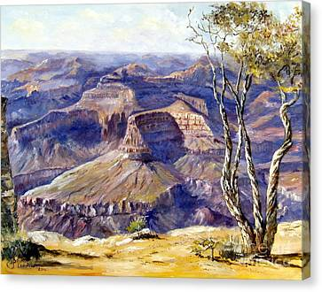 Canvas Print featuring the painting The Canyon by Lee Piper