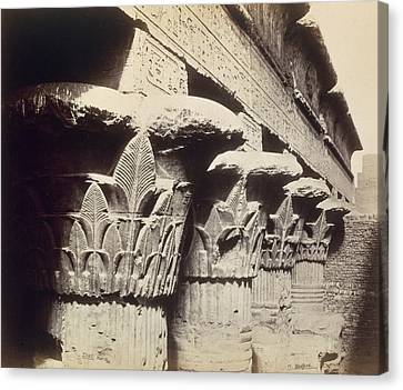 Ancient Egyptian Canvas Print - The Capitals Of The Portico Of The Temple Of Khnum In Esna by Francis Bedford