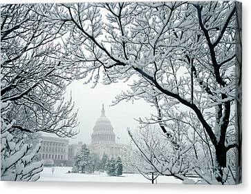 The Capitol In Snow Canvas Print by Joe  Connors