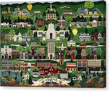 Canvas Print featuring the painting The Capitol Salem by Jennifer Lake