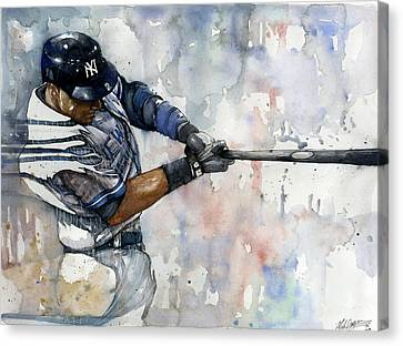 The Captain Derek Jeter Canvas Print by Michael  Pattison