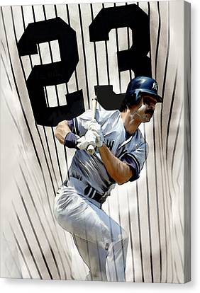 The Captain Donnie Baseball Don Mattingly Canvas Print by Iconic Images Art Gallery David Pucciarelli