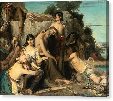 The Captivity Of The Jews In Babylon Canvas Print by Leon Francois Comerre