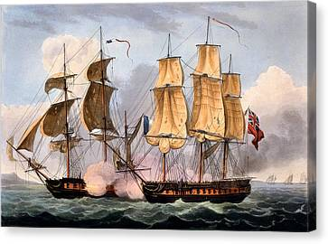 The Capture Of La Confiante Canvas Print by Thomas Whitcombe