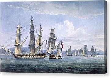 The Capture Of Le Sparviere Canvas Print by Thomas Whitcombe