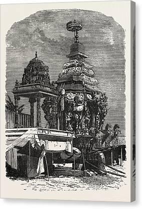 The Car Of Juggernaut. Hindu Ratha Yatra Temple Car Canvas Print by English School