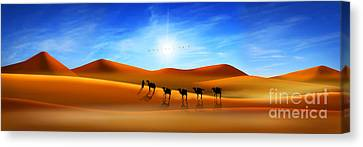 Camels In The Desert Canvas Print