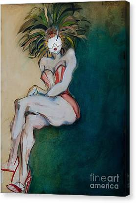 The Carnival Queen - Masked Woman Canvas Print by Carolyn Weltman