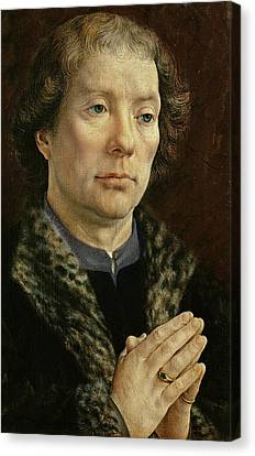 The Carondelet Diptych Left Hand Panel Depicting Jean Carondelet 1469-1545 Dean Of Besancon Church Canvas Print by Jan Gossaert