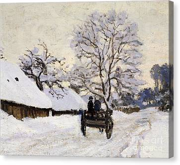 The Carriage- The Road To Honfleur Under Snow Canvas Print by Claude Monet