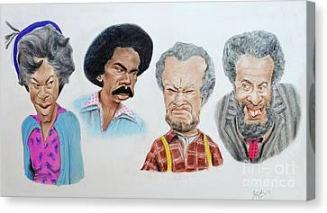 The Cast Of Sanford And Son Altered Version Canvas Print by Jim Fitzpatrick