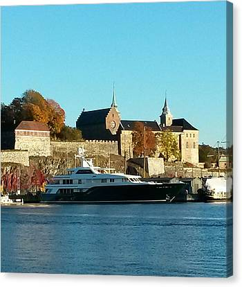 The Castle By The Waterfront Canvas Print