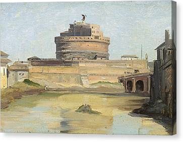 The Castle Of St. Angelo, Rome Oil On Canvas Canvas Print