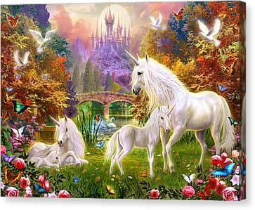 The Castle Unicorns Canvas Print