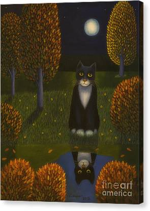 Harmonious Canvas Print - The Cat And The Moon by Veikko Suikkanen