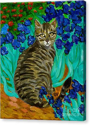 The Cat At Van Gogh's Irises Garden Canvas Print