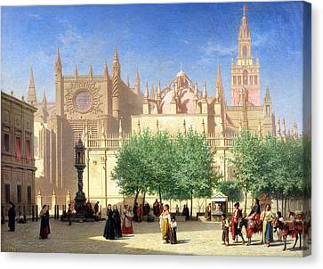 The Cathedral Of Seville Canvas Print by Achille Zo