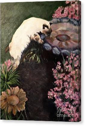 The Cats In The Garden Canvas Print by Janet Felts