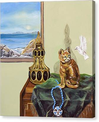 Canvas Print featuring the painting The Cat's Meow by Susan Culver